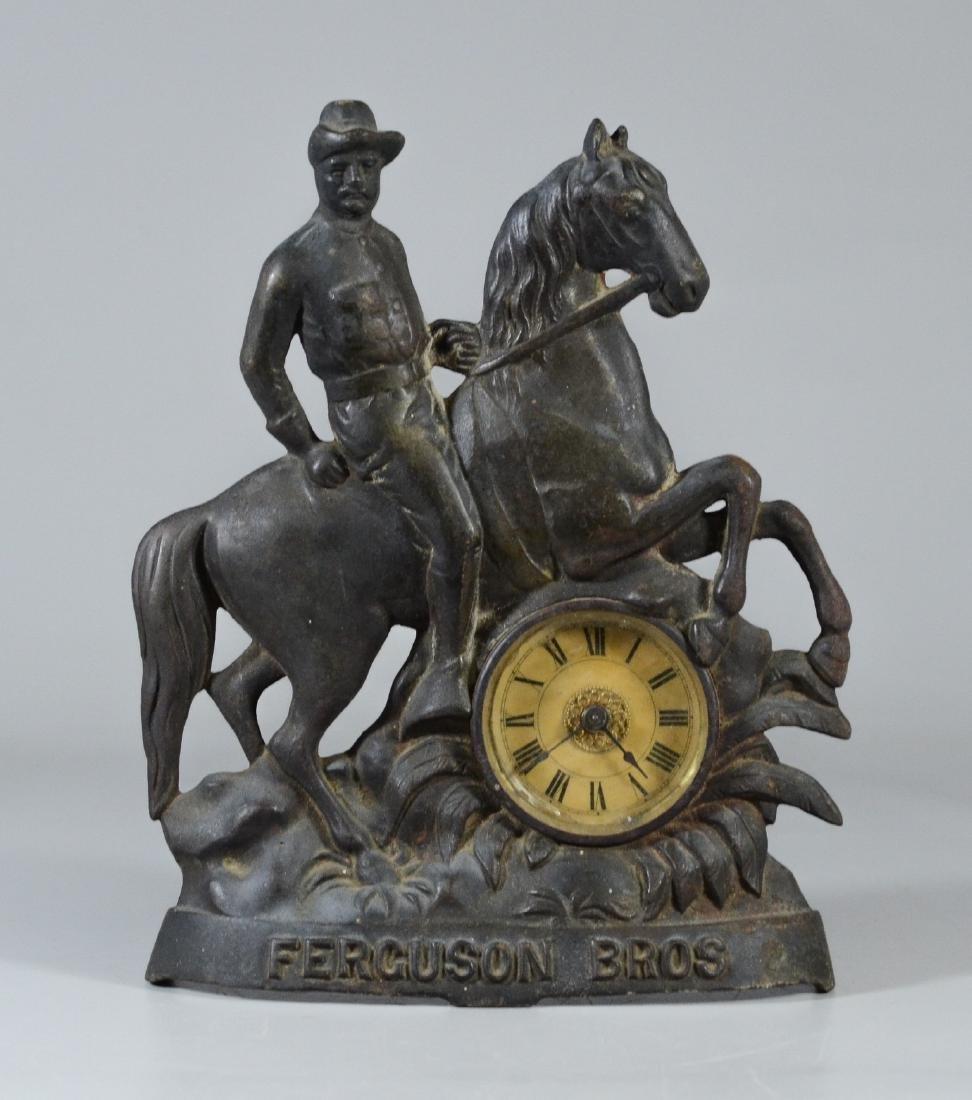 Cast iron advertising clock, Ferguson Bros