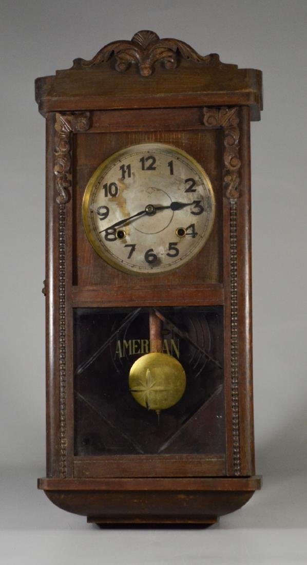 Carved German wall clock, time & strike movement