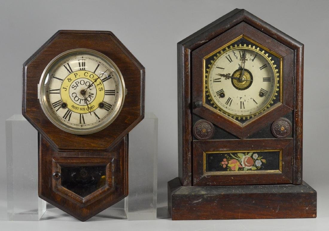 2 Wood clocks, Jerome & Co cottage clock