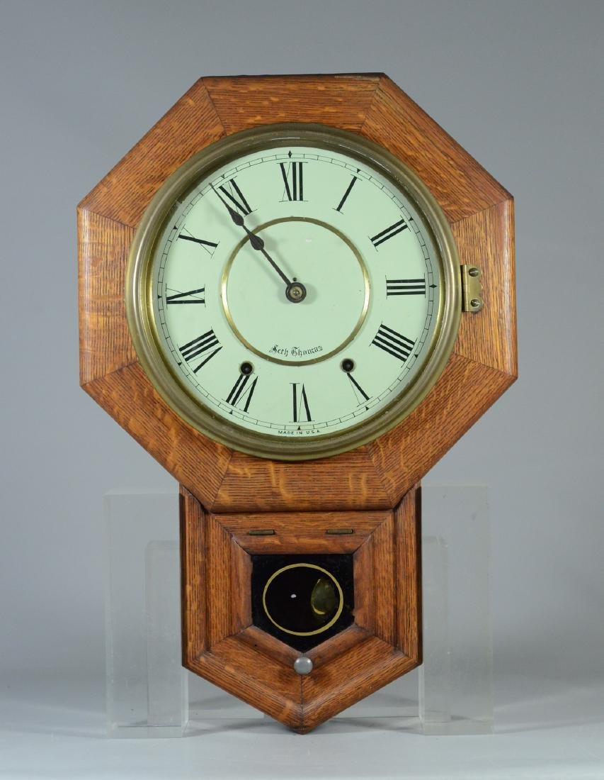 Oak Seth Thomas octagon short drop schoolhouse clock