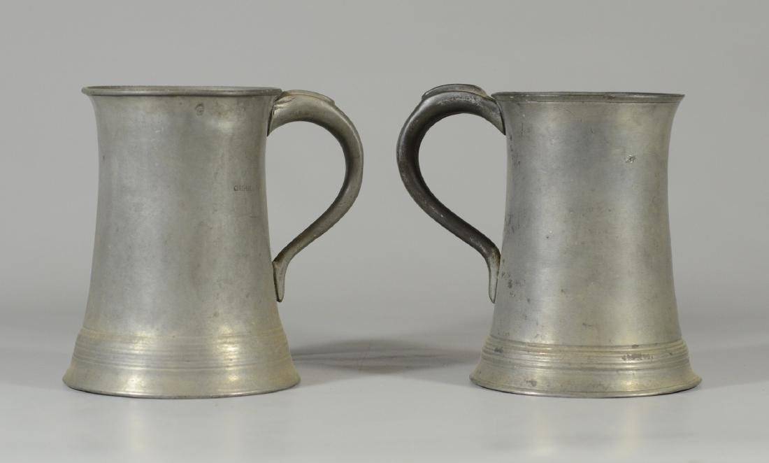 "2 Pewter quart sized steins, 8-1/2"" h"