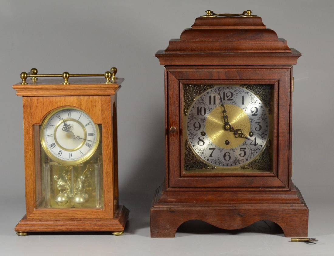 2 Mantle clocks, walnut German Westminster chime