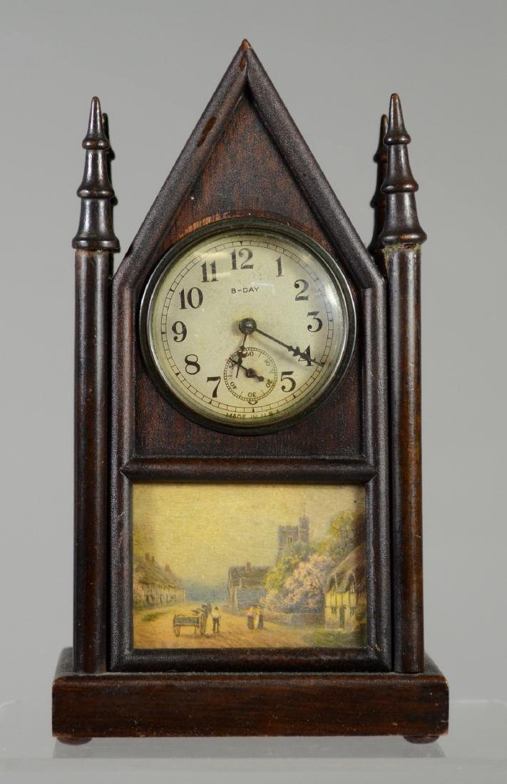 """Miniature 8-day steeple clock, marked """"Made in USA"""""""