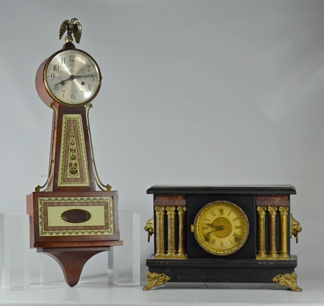 Modern Seth Thomas banjo clock & Sessions mantle clock