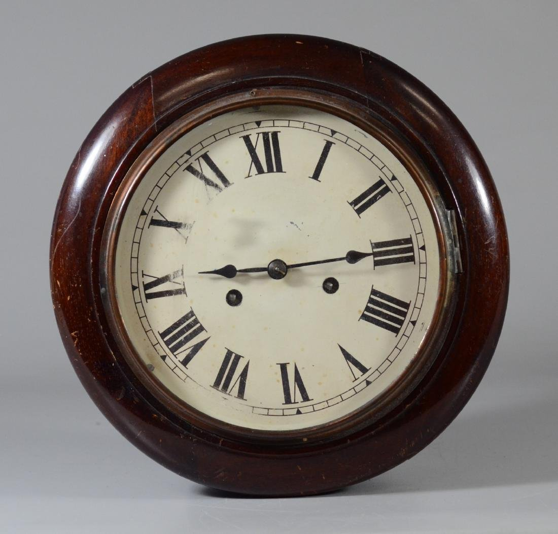 English round gallery clock, time & strike, with key