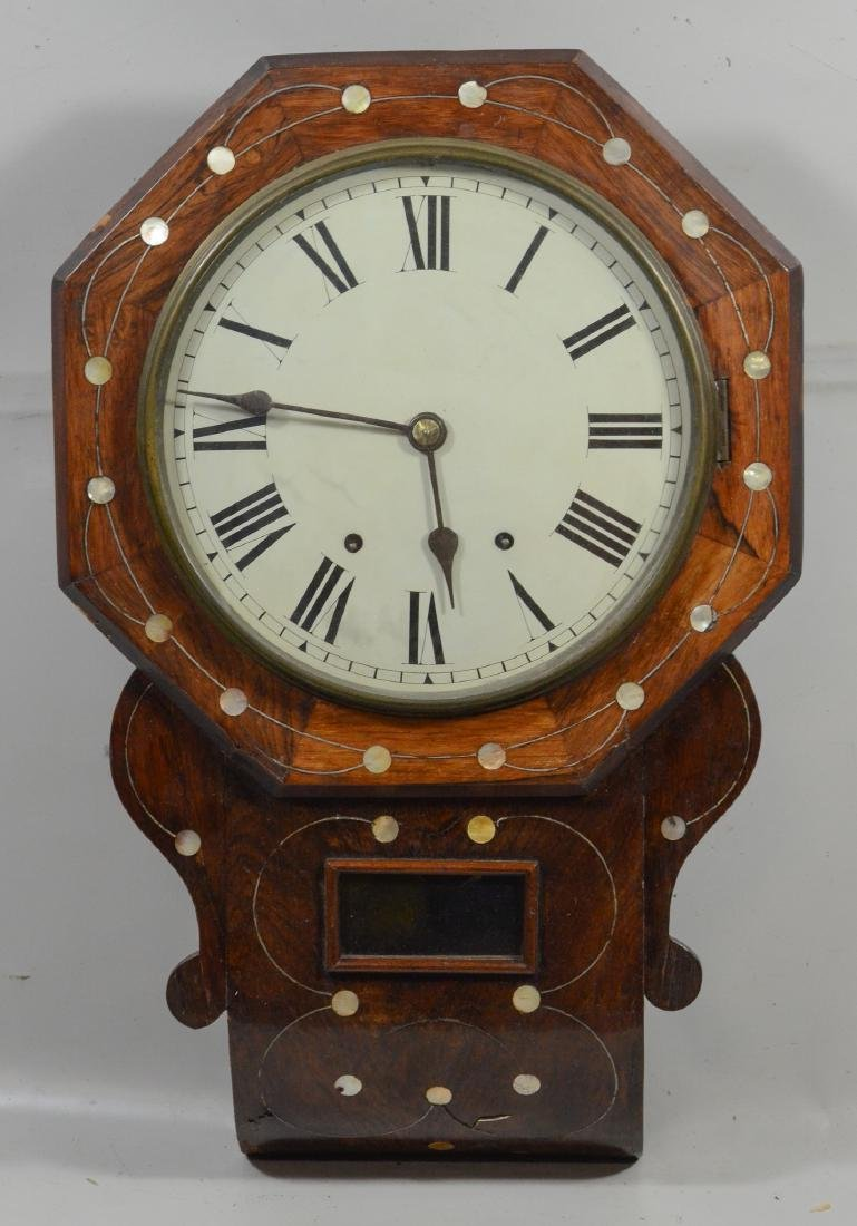 English mother of pearl inlaid rosewood wall clock,