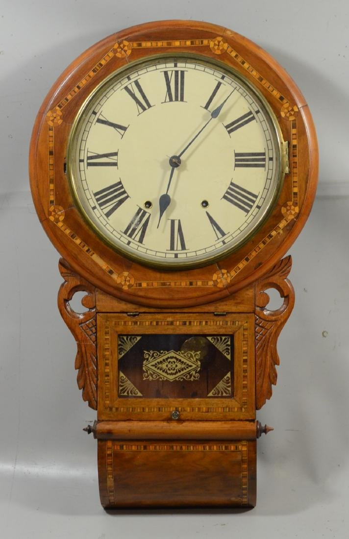 Geometric inlaid fruitwood regulator wall clock