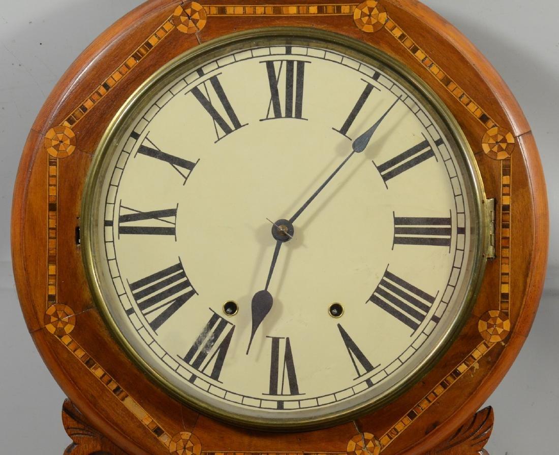 Geometric inlaid fruitwood regulator wall clock - 2
