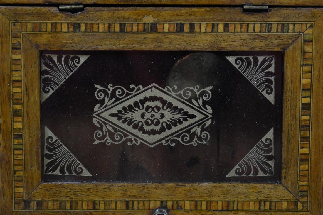 Geometric inlaid fruitwood regulator wall clock - 3