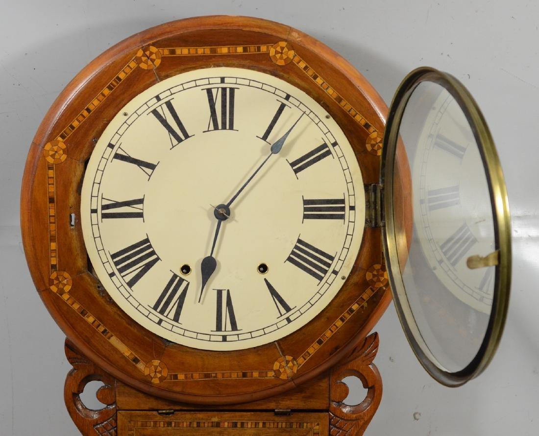 Geometric inlaid fruitwood regulator wall clock - 4