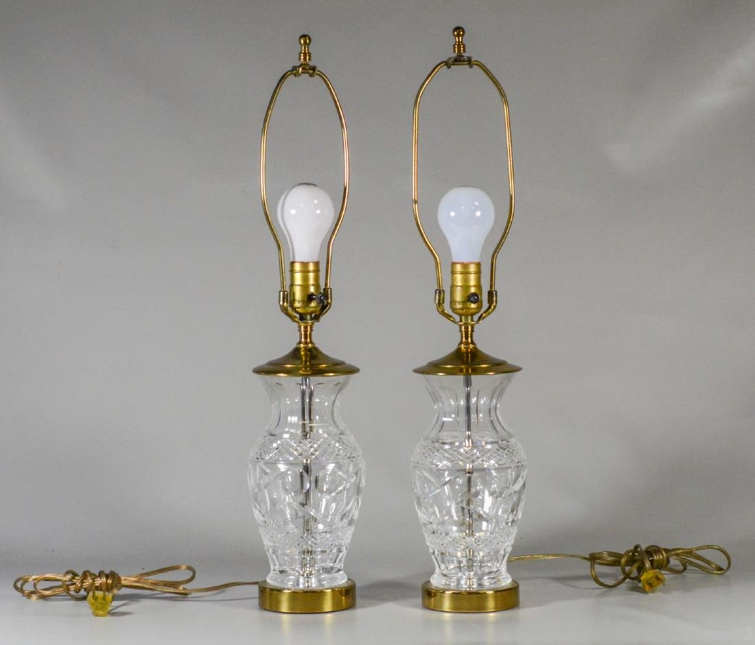 Pair of cut crystal table lamps, probably Waterford