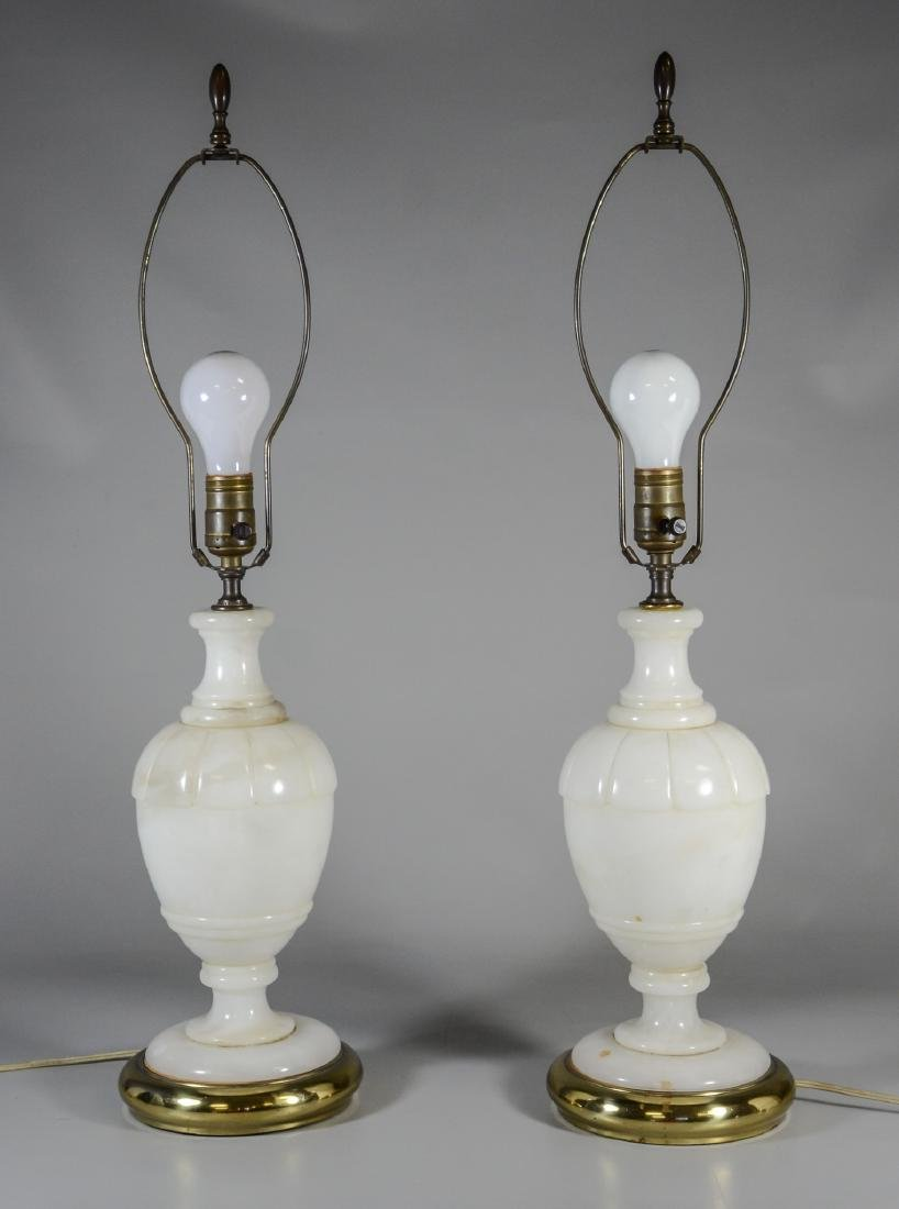 Pair Italian style alabaster and brass table lamps