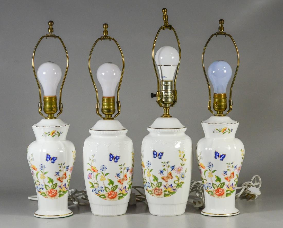 4 Aynsley Cottage Garden pattern table lamps