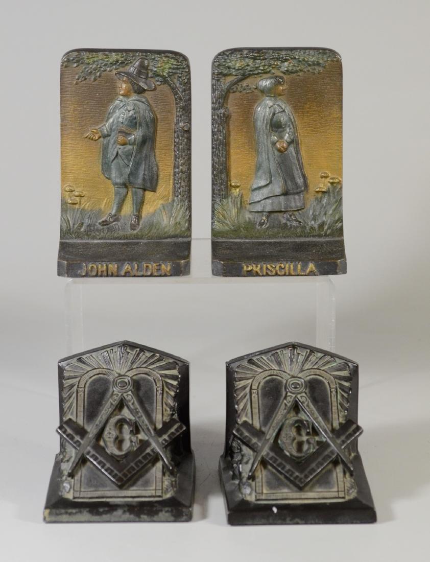 2 Pair of metal bookends, Bradley & Hubbard