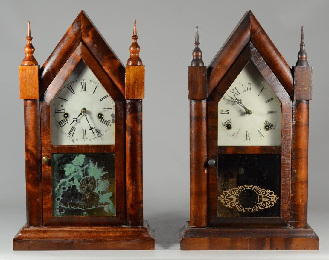 2 Mahogany steeple clocks, Waterbury Clock Co
