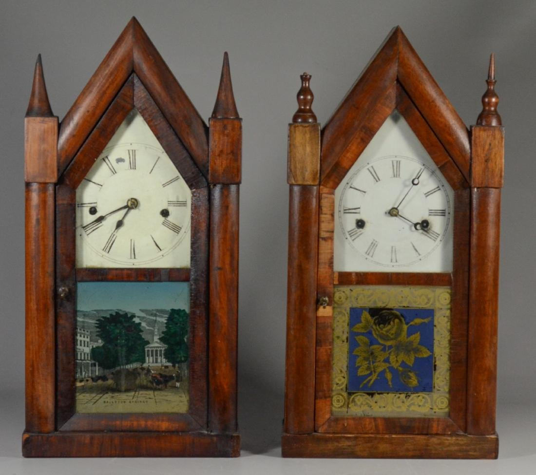 2 Mahogany steeple clocks, Ansonia, time & strike, o