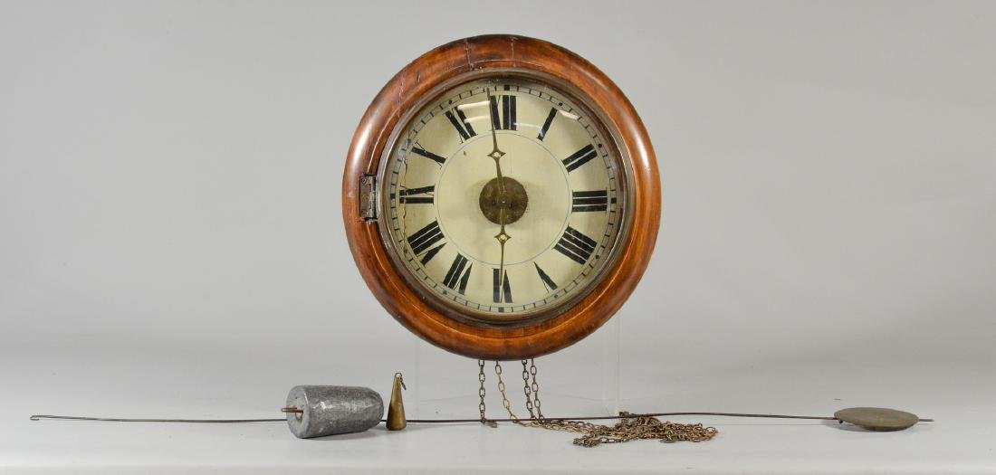 German wag-on-wall clock, movement with wooden plates