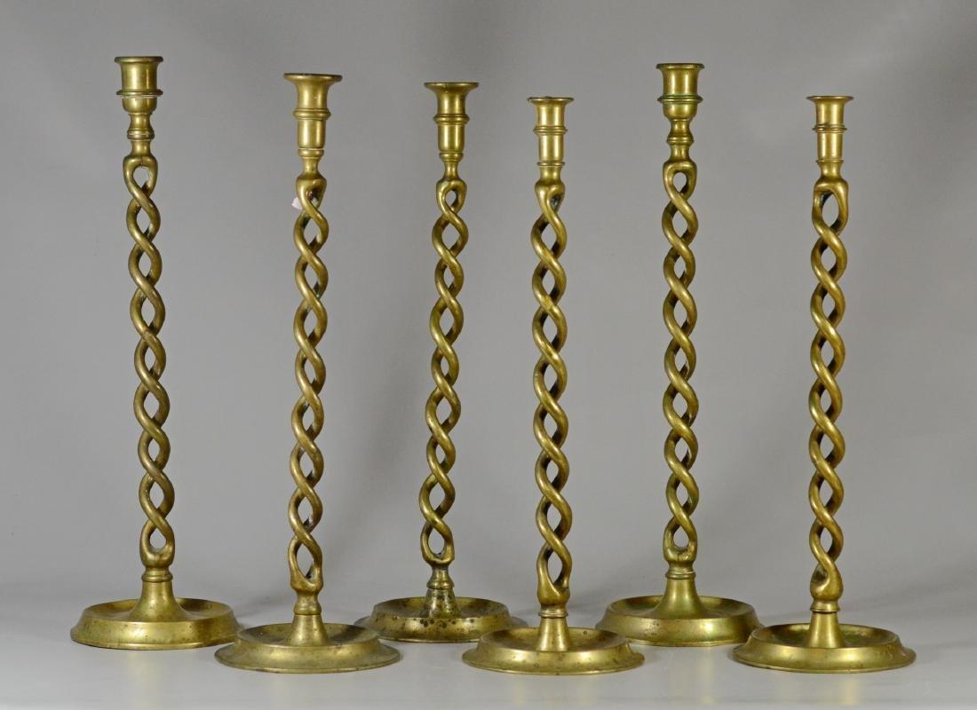 6 Tall brass barley twist candlesticks