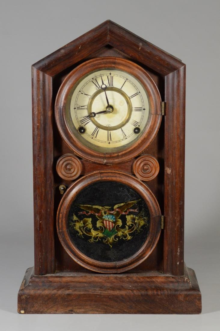 Rosewood figure 8 mantle clock, American Eagle