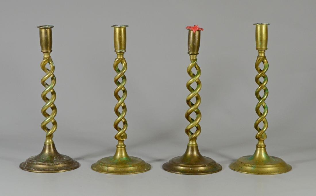 "4 Brass barley twist candlesticks, 12"" tall"