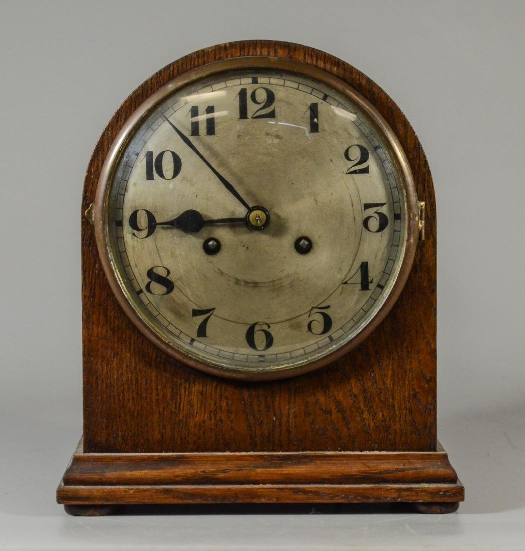Unsigned oak beehive clock, 8 day, time and strike,