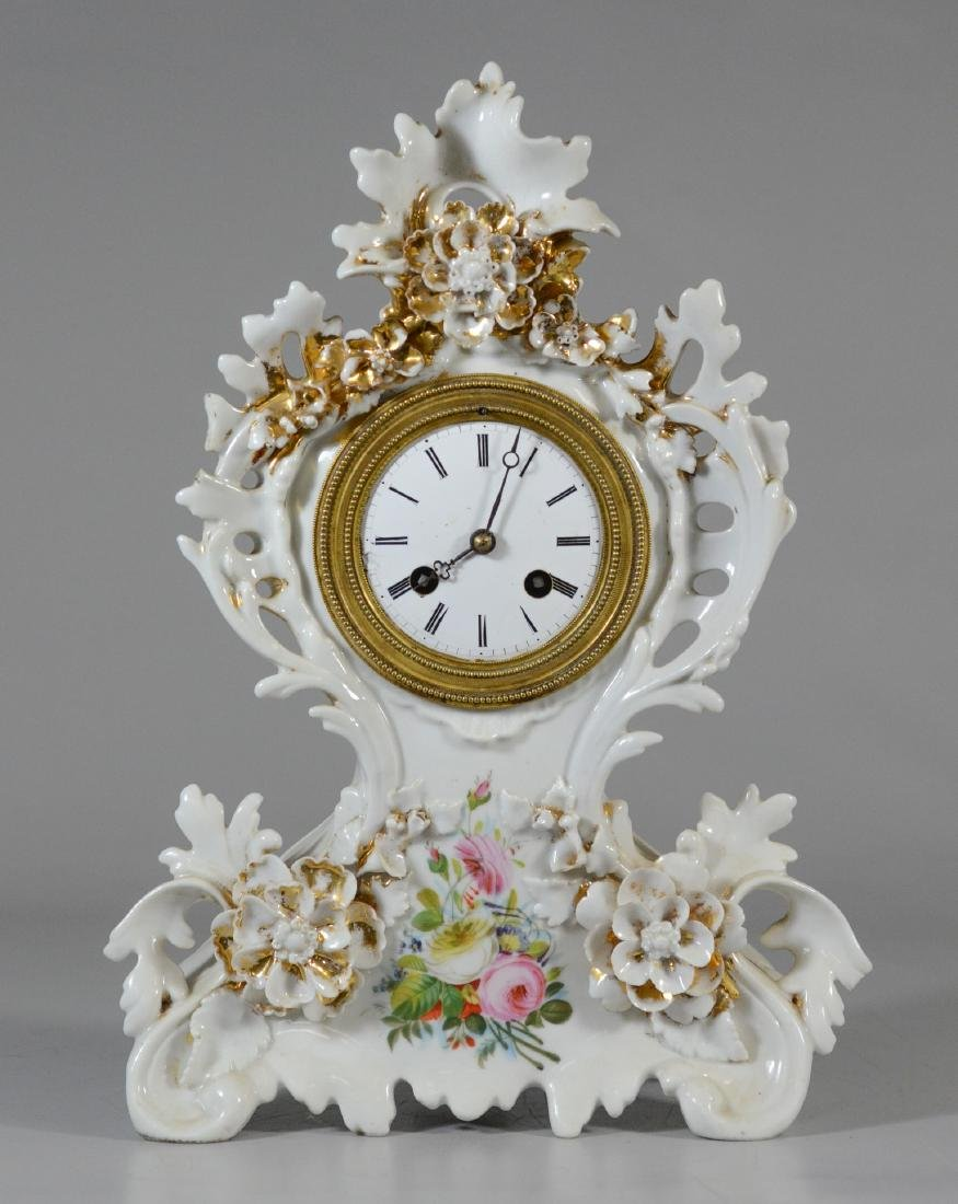 French porcelain shelf clock, applied floral decoration