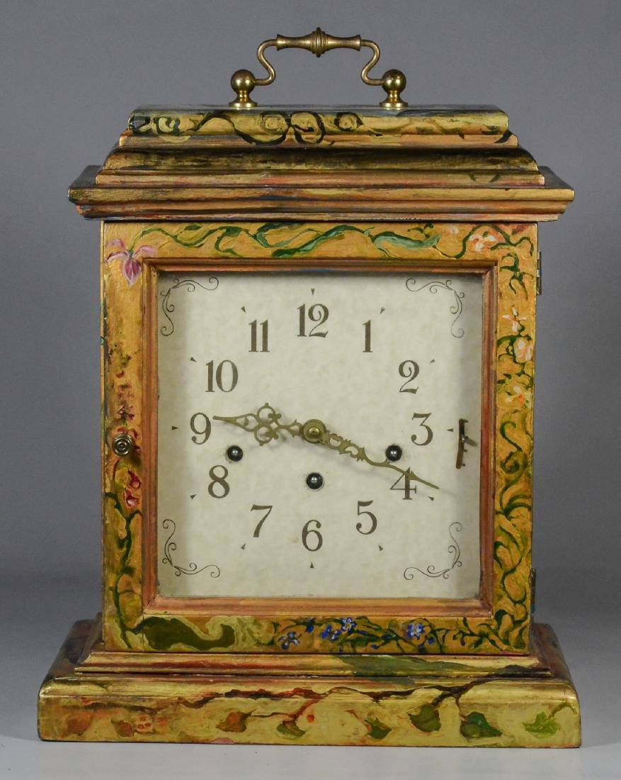 Frans Hermle chiming bracket clock, paint decorated