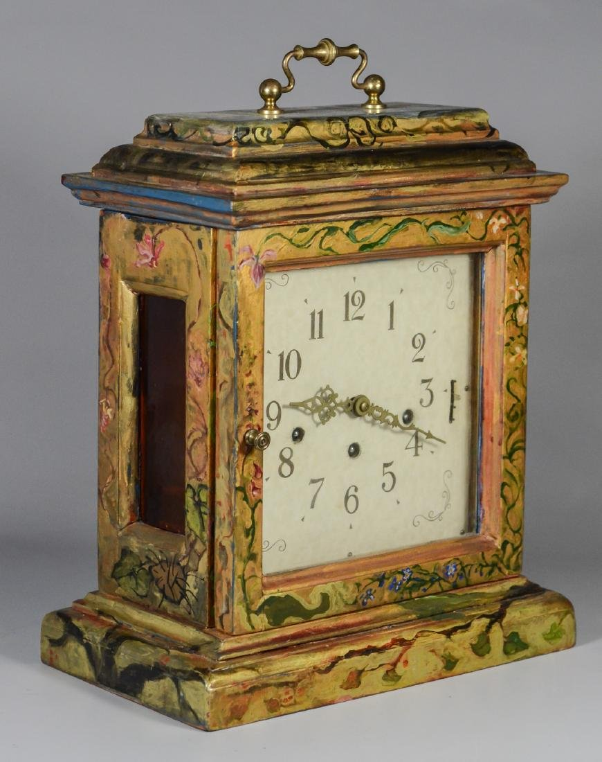 Frans Hermle chiming bracket clock, paint decorated - 2