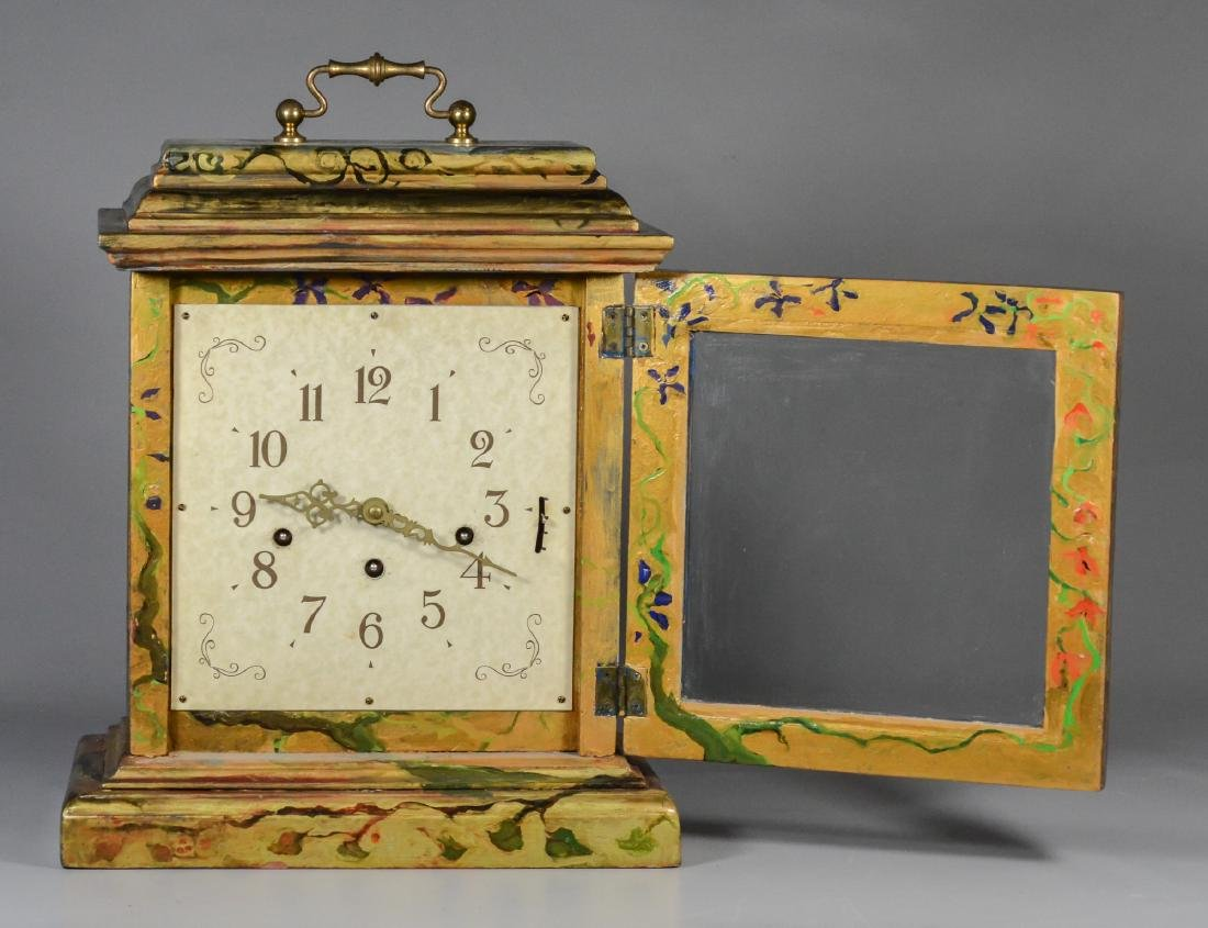 Frans Hermle chiming bracket clock, paint decorated - 3