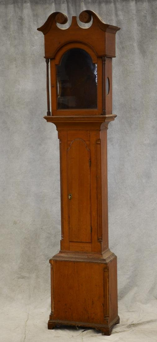 Cherry Chippendale tall clock case only, scroll top