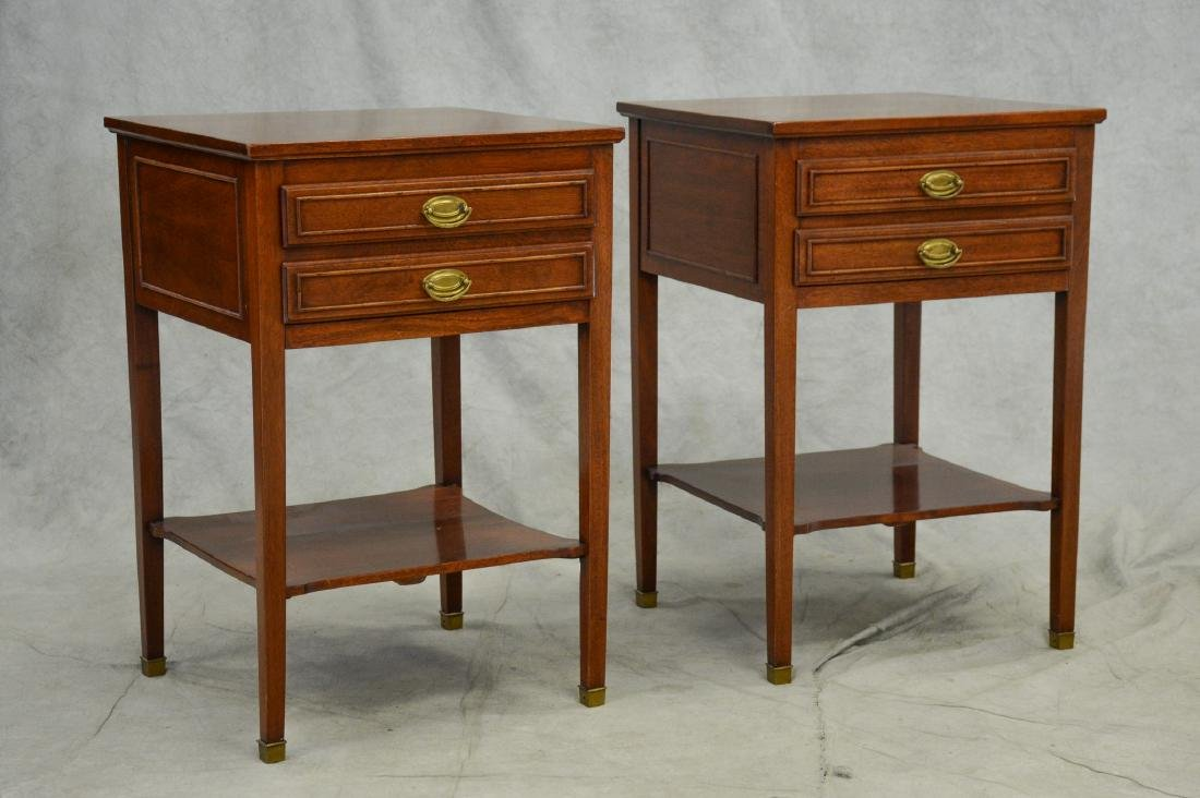 Pair Sheraton style 2-tier side tables