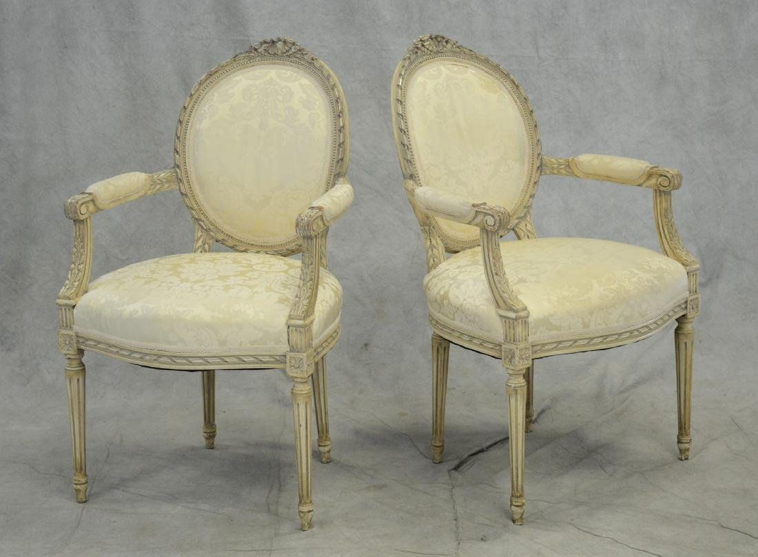 Pair Louis XVI Style distressed painted fauteuils