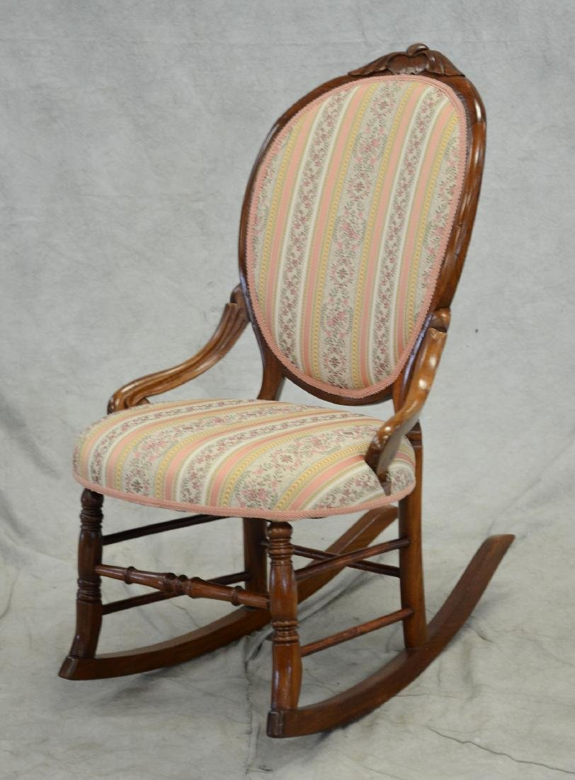 Victorian style upholstered rocking chair, floral up