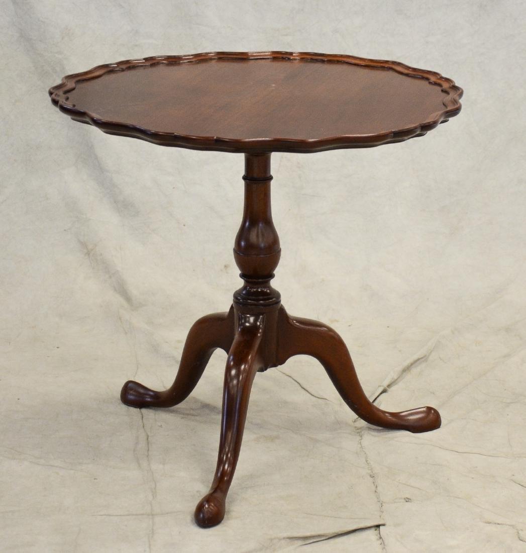 Walnut piecrust pedestal table, walnut carved frame,
