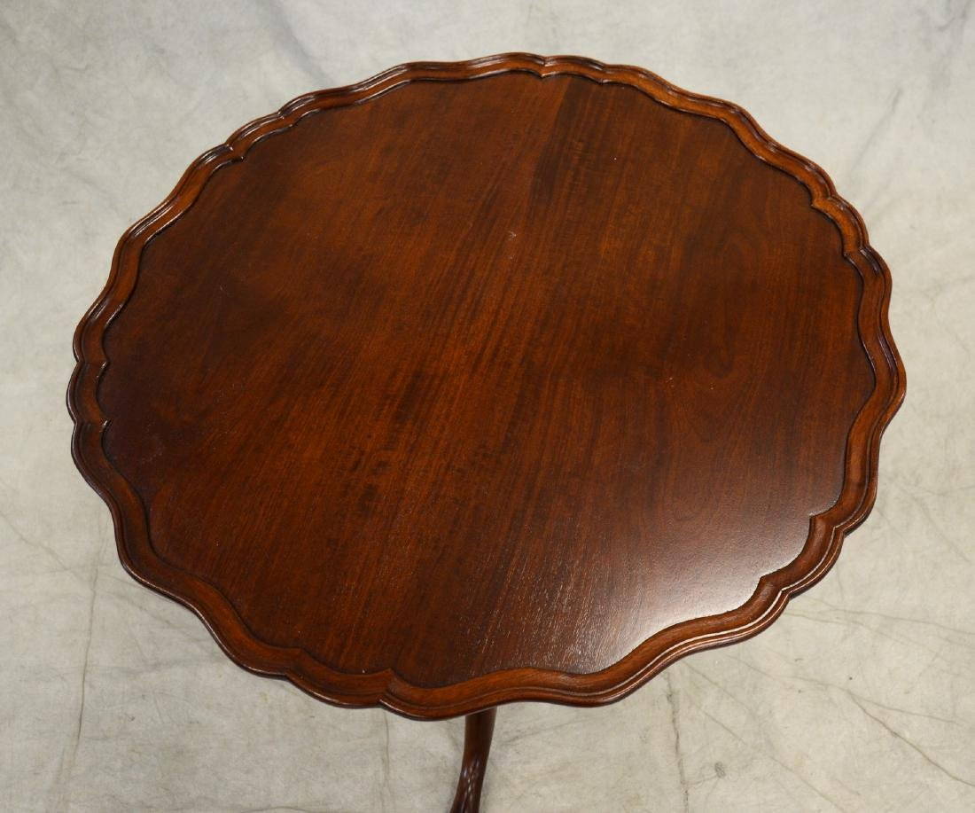 Walnut piecrust pedestal table, walnut carved frame, - 2