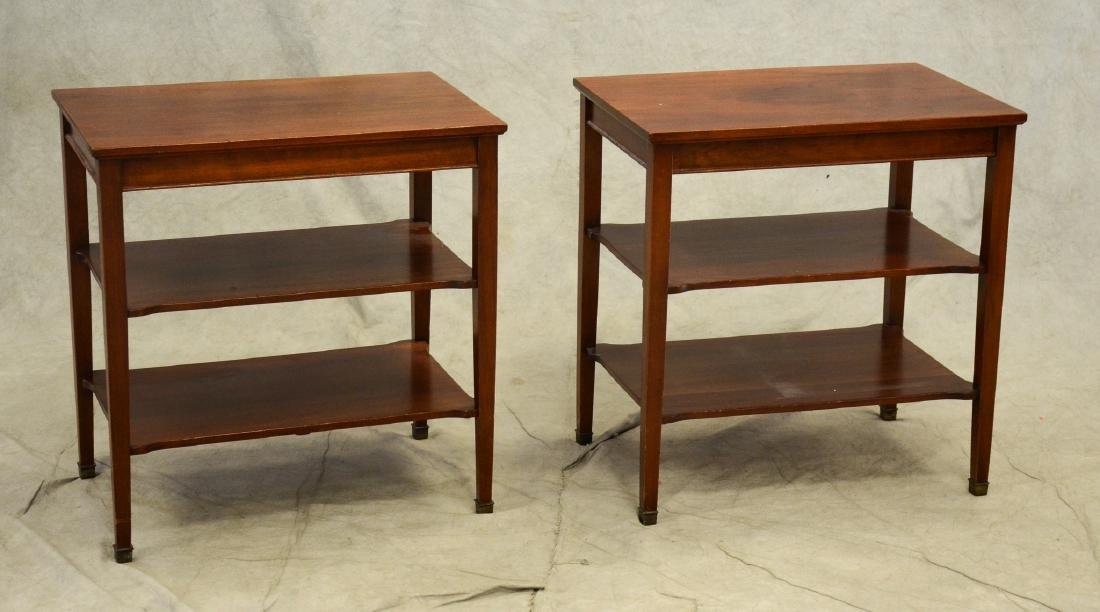Pair Gordon's Inc mahogany 3 tier side tables, mahog