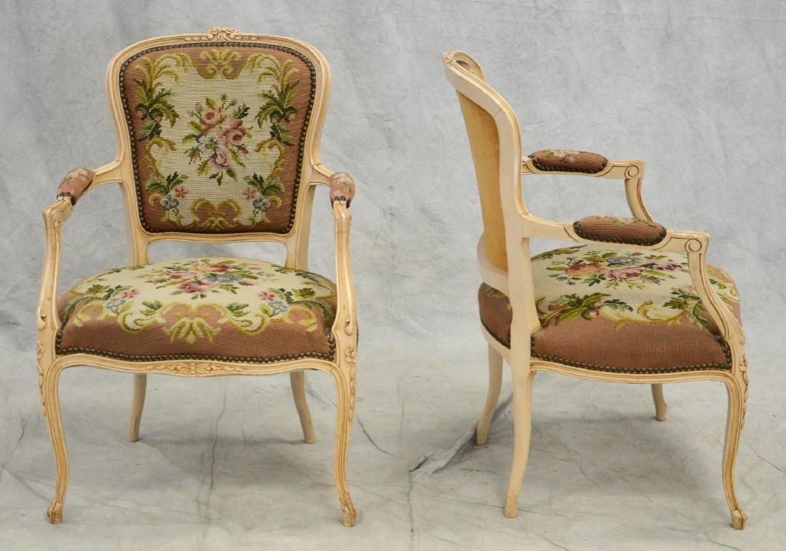 Pair distressed cream painted needlepoint fauteuils, - 2