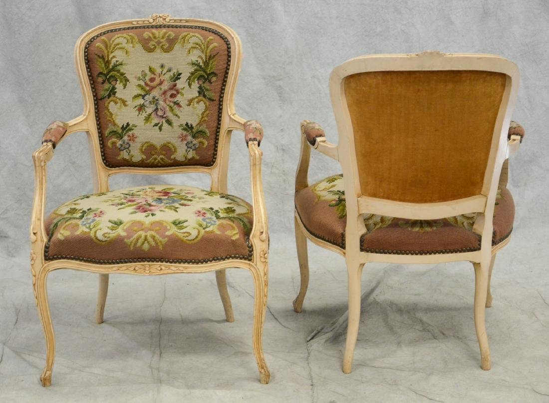 Pair distressed cream painted needlepoint fauteuils, - 3