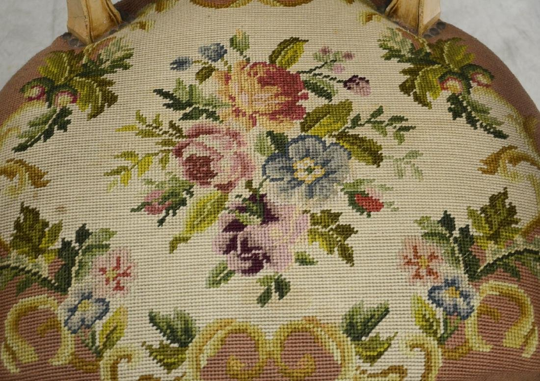 Pair distressed cream painted needlepoint fauteuils, - 4