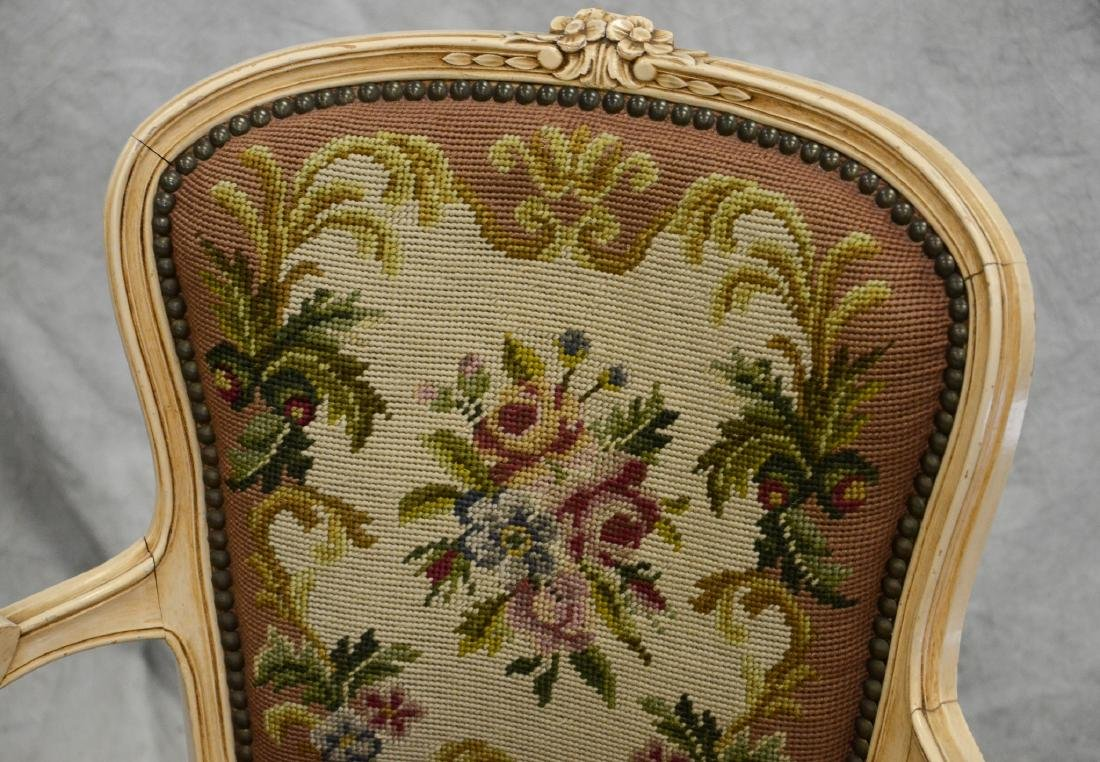 Pair distressed cream painted needlepoint fauteuils, - 5