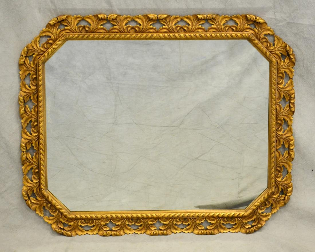 French style gilt carved hanging mirror, gilt painte