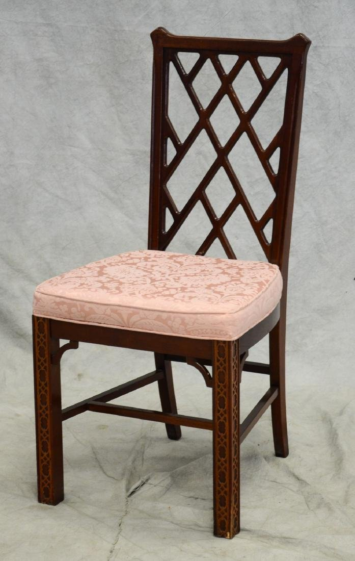 Chippendale style carved side chair, pink damask uph