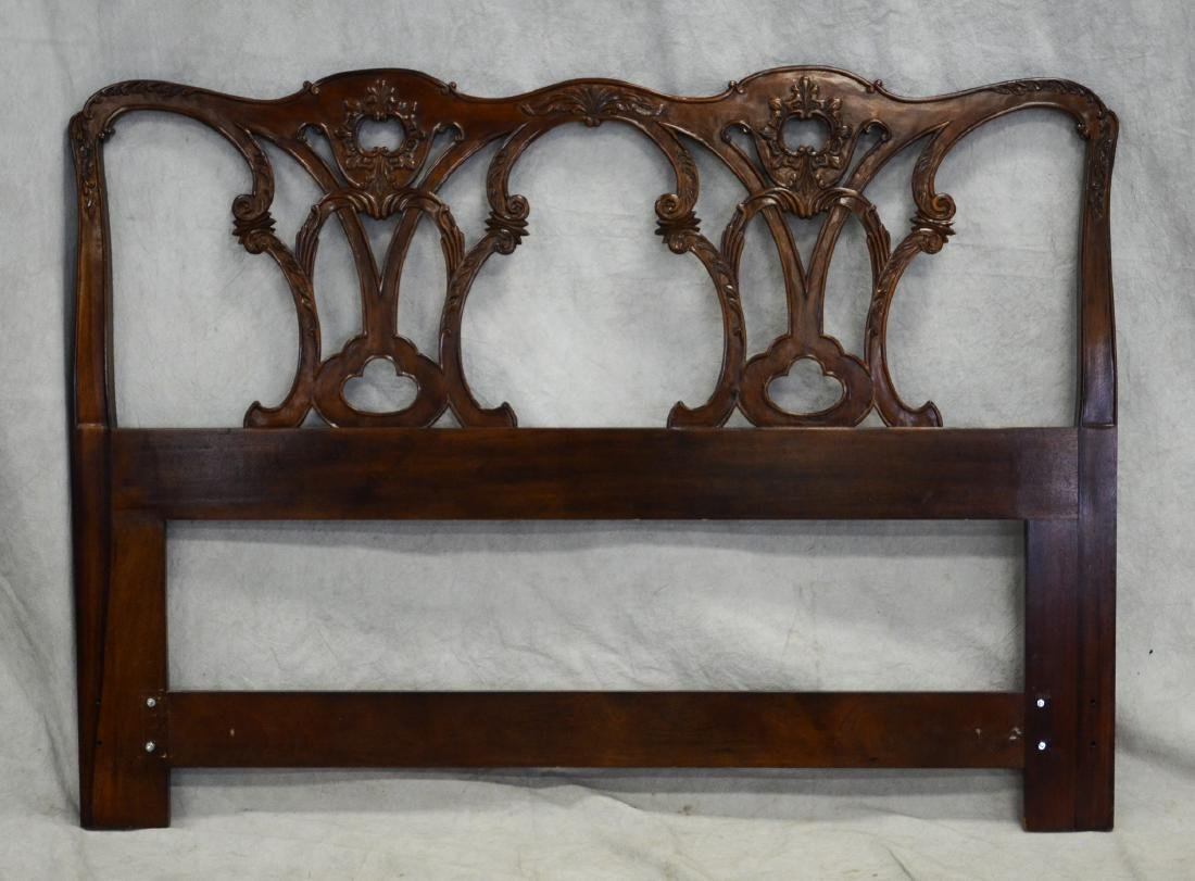 French style carved mahogany headboard, carved flora