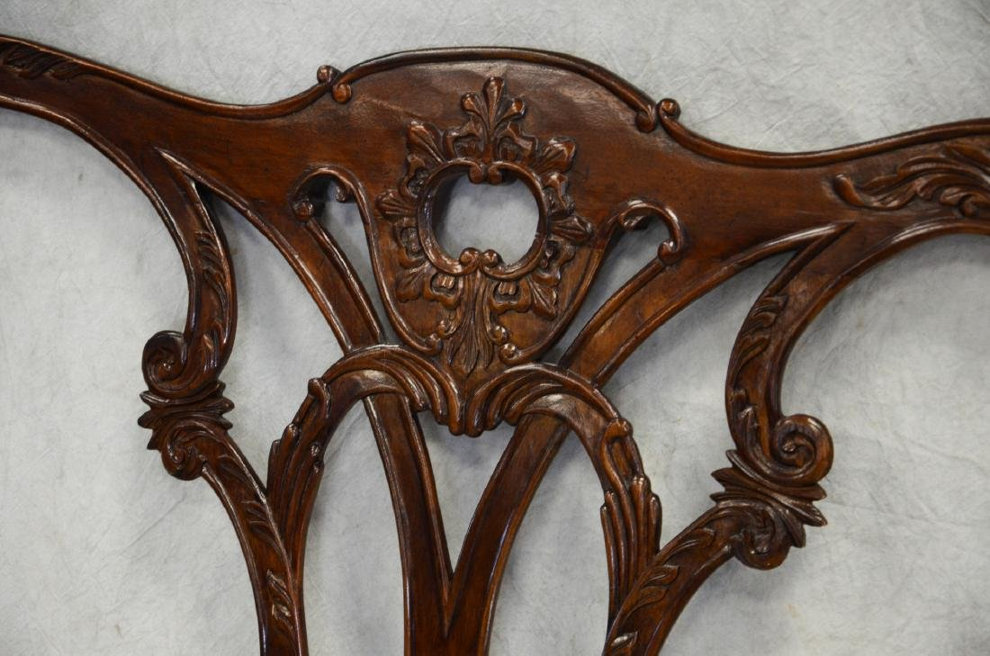 French style carved mahogany headboard, carved flora - 2