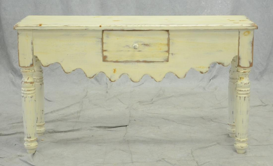 Eddy West distressed painted console table, distress