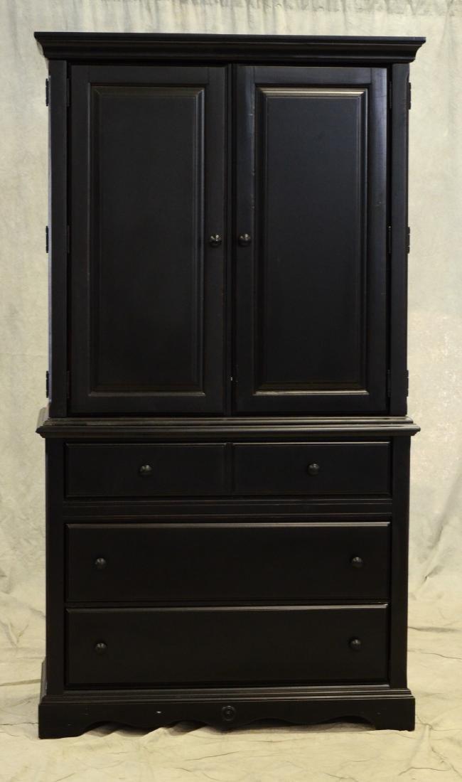 Custom ebonized two piece cabinet, ebonized painted