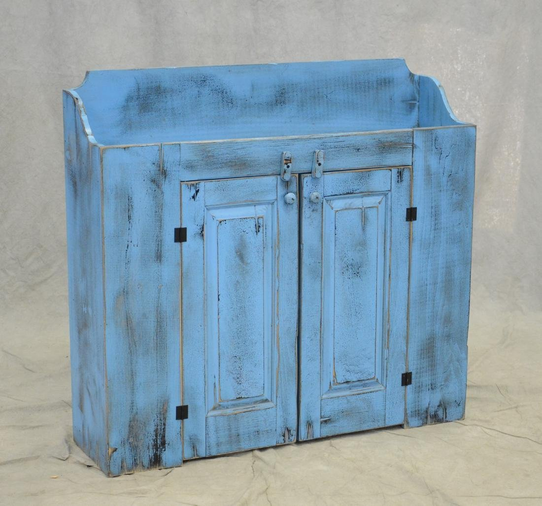 Distressed painted dry sink, distressed turquoise pa