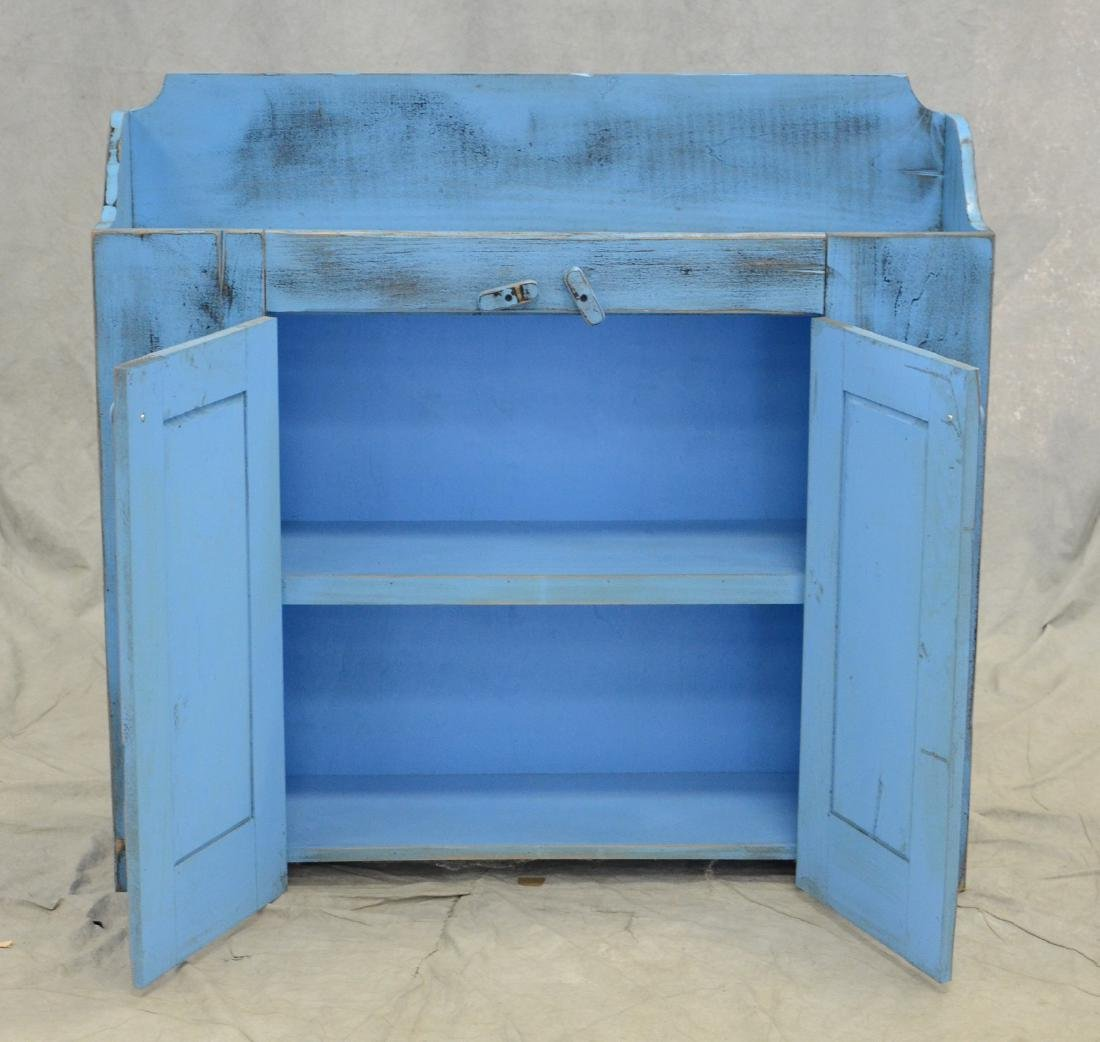 Distressed painted dry sink, distressed turquoise pa - 2