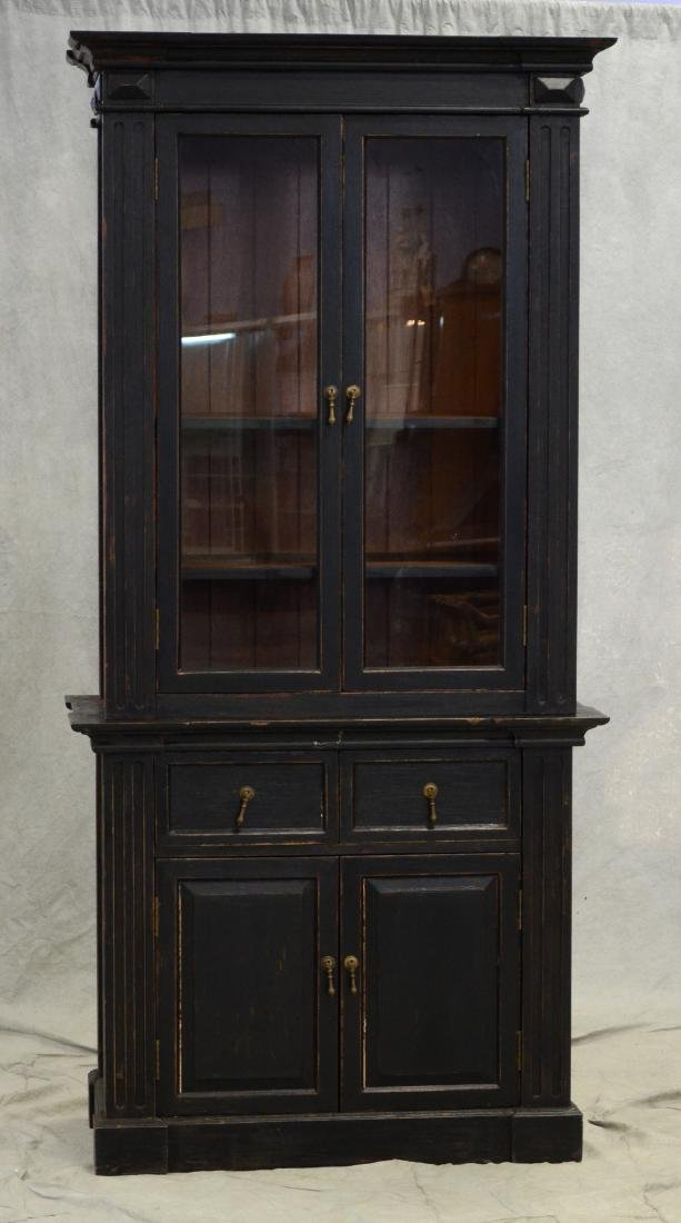 Custom ebonized two piece cabinet, distressed ebonized
