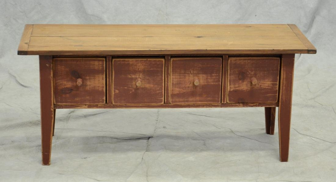 Country French style distressed bench w/drawers